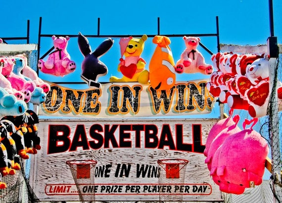 Basketball Toss Carnival Fair Game Fine Art Print or Canvas Gallery Wrap