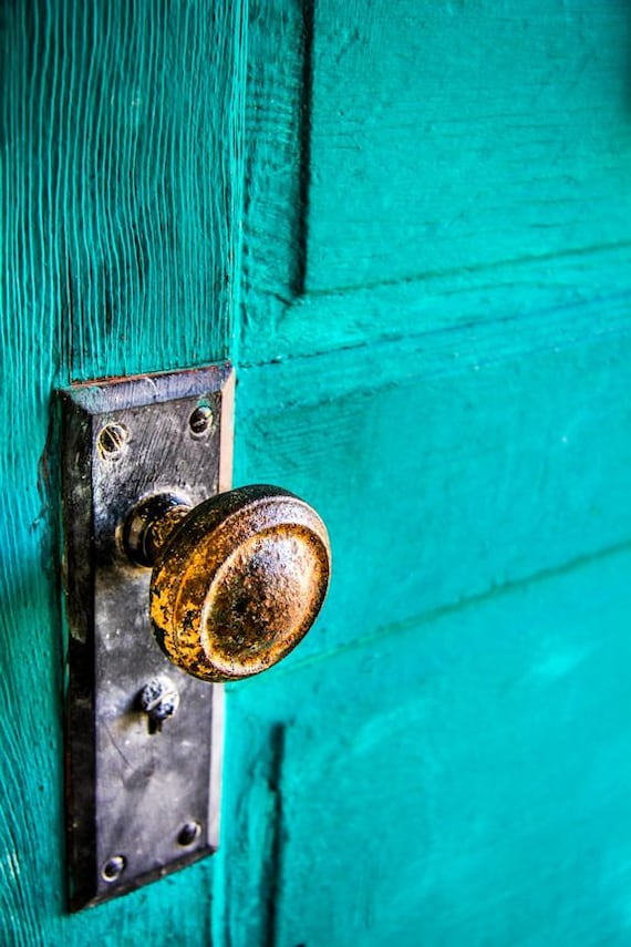 Vintage Blue Door & Brass Knob Fine Art Print or Canvas Gallery Wrap
