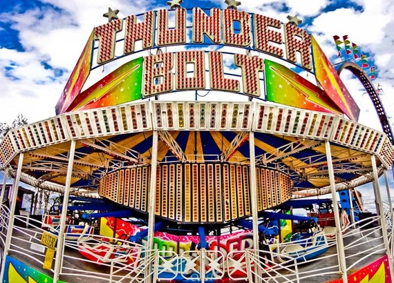 Thunderbolt Spin Carnival Ride Fine Art Print or Canvas Gallery Wrap