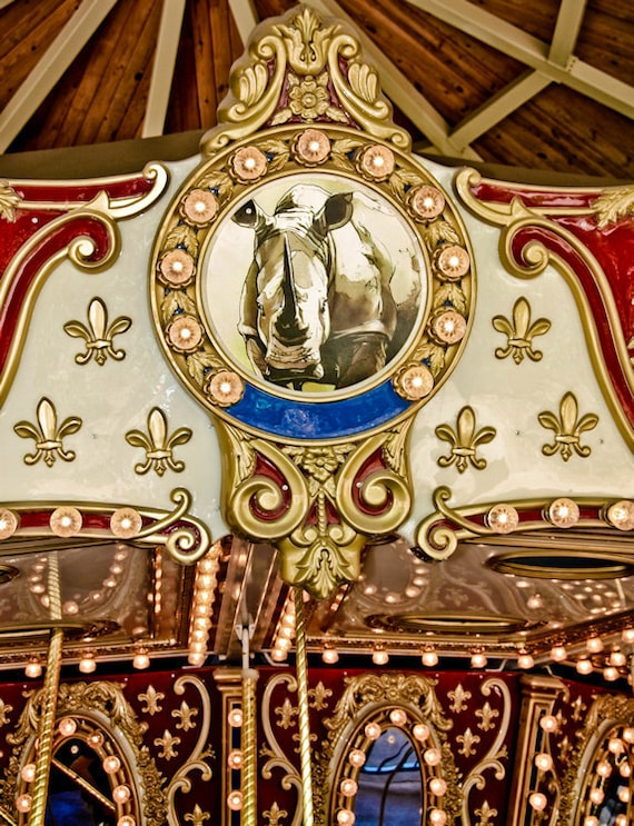 Victorian Rhinoceros Carousel Ride Fine Art Print or Canvas Gallery Wrap