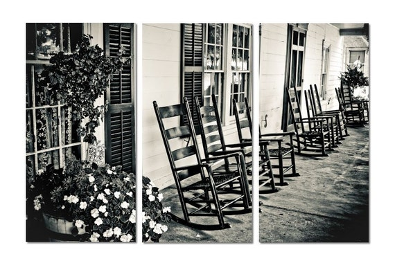 Cozy Front Porch Canvas Triptych, 3 Panel Art, LARGE, Ready to Hang