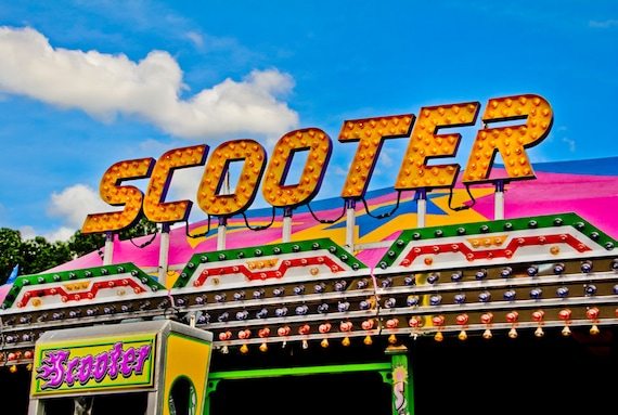 Neon Scooter Ride Sign Fine Art Print or Canvas Gallery Wrap