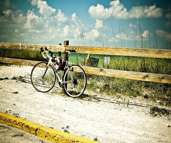 Beach Summer Bicycle Fine Art Print or Canvas Gallery Wrap