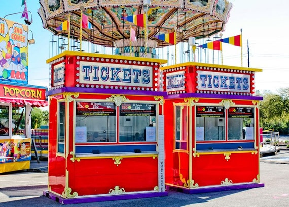Two Carnival Ticket Booths Fine Art Print or Canvas Gallery Wrap