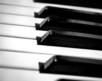 Black & White Piano Keys Fine Art Print- Vintage, Nostalgic, Home Decor, Photography, Gift, Zen