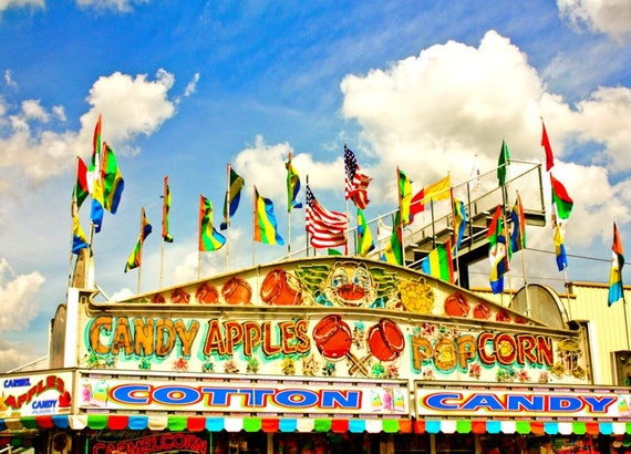 Neon Lights Candy Apples Carnival Stand Fine Art Print or Canvas Gallery Wrap
