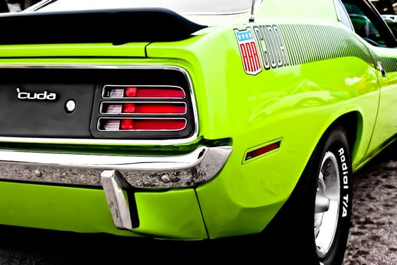 1972 Green Plymouth Barracuda Car Fine Art Print or Canvas Gallery Wrap