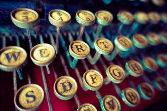 Vintage Typewriter Keys Fine Art Print or Canvas Gallery Wrap