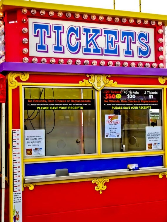 Carnival Fair Ticket Booth Neon Sign Fine Art Print or Canvas Gallery Wrap
