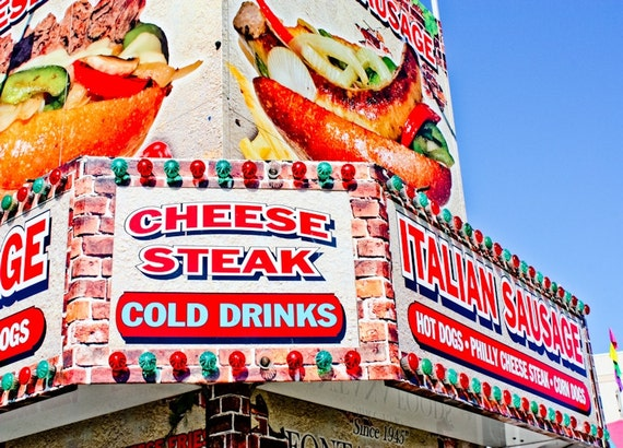 Cheese Steak Carnival Food Vendor Fine Art Print or Canvas Gallery Wrap
