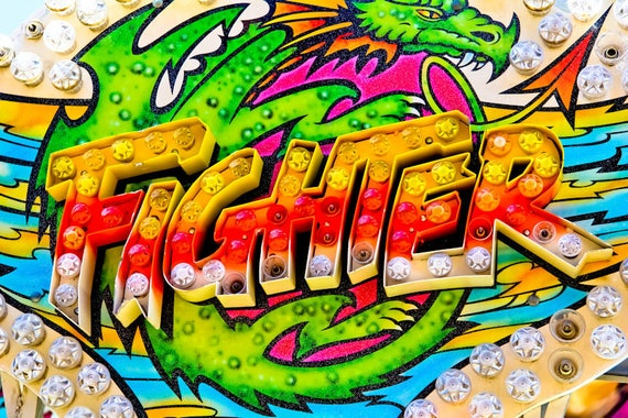 Fighter Ride Neon Carnival Fine Art Print or Canvas Gallery Wrap