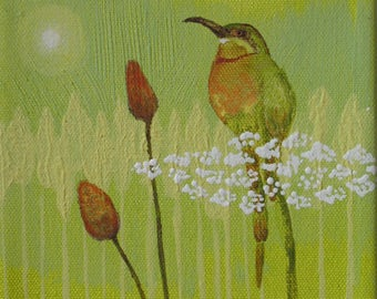 Original on canvas, Bee Catcher Bird And Wild Flowers,  Acrylic, 6 by 6