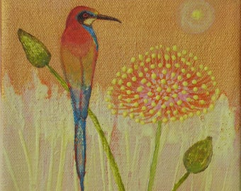 Original on canvas, Bee catcher Bird and Flower, Acrylic,  6 by 6