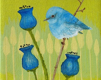 Original Acrylic Blue Bird Painting 6 by 6 stretched canvas