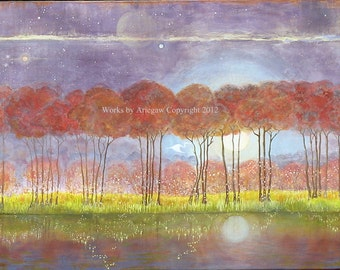 """Fireflies and Moonlight Original Acrylic Canvas Painting 36"""" by 48"""""""