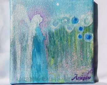 Original on canvas, Where Angels Dwell #10, acrylic, small 6 by 6