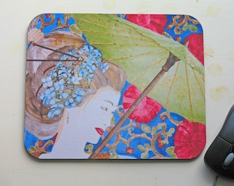 Geisha Fabric Mouse Pad/ Computer Accessory/ 9.25 by 7.75 by 1/4in. recycled ruber