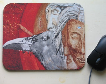 Native Art with Crow Mouse Pad