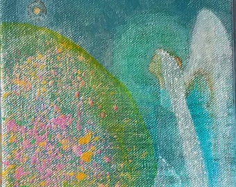 Original on canvas, Where Angels Dwell #12, acrylic, 6 by 6