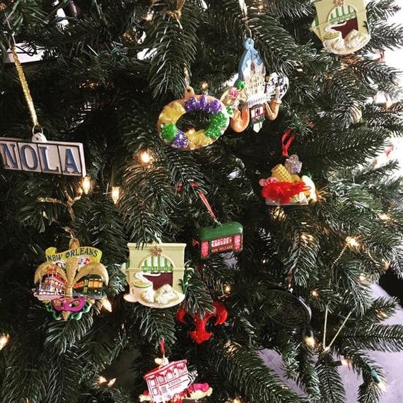 New Orleans Christmas Ornaments.New Orleans Christmas Ornament Mardi Gras Fleur De Lis Tree Bottle Tag Decoration Gift Favor Trolley Trolly Wedding Decoration W Pouch Af