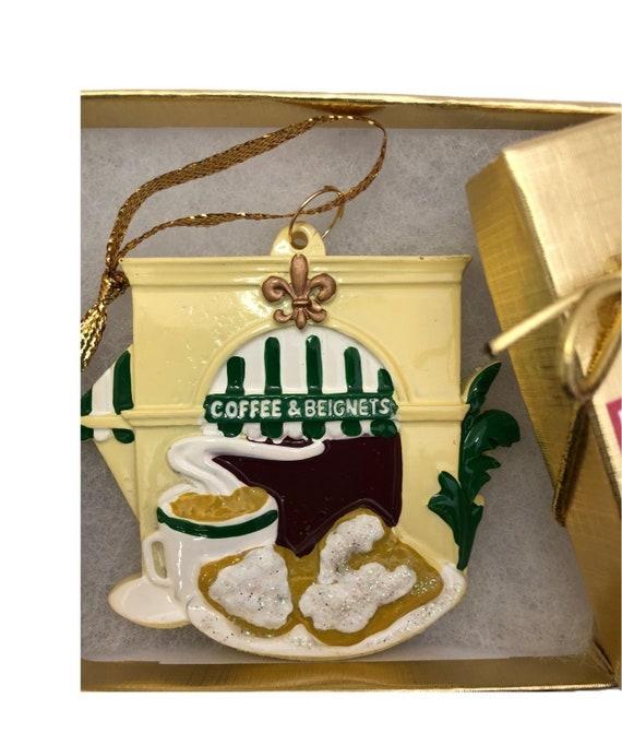 Coffee Christmas Ornament.New Orleans Christmas Ornament Coffee And Beignets Nola Decor Decoration Souvenir Donut Cafe De Du Monde French Quarter Favor Gift Box