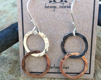 silver and copper link earrings