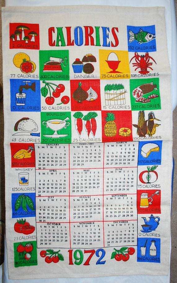 Vintage 1972 Calendar Kitchen Towel Etsy