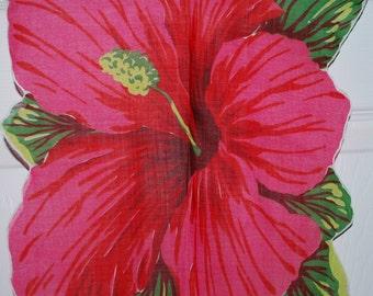Vintage Red Hibiscus Handkerchief