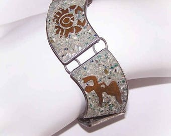 Vintage, Mexican, Made in Mexico, Sterling Silver, Stone Inlay, Turquoise, Copper, Mixed Metals, Link, Bracelet, Aztec, Zodiac, Design