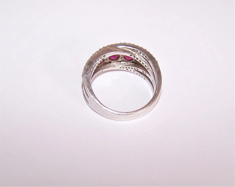 Blingy Sterling Silver Ruby Clear CZ Fashion Ring