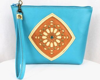 Turquoise Leather Clutch, Wristlet, Purse, Aurya