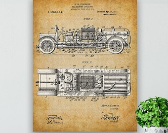 11x14 Unframed Patent Print Great Gift for Firefighters 1930s Fire Truck Art