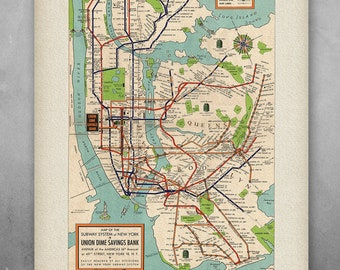 Printed Nyc Subway Map.Nyc Subway Map Etsy