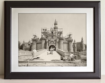 disneyland castle under construction 11x14 unframed print great gift to disney fans