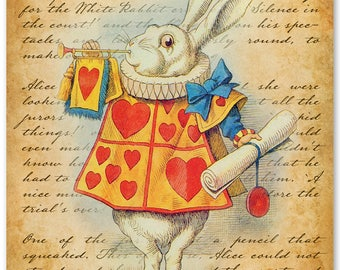 Alice in Wonderland White Rabbit - 11x14 Unframed Alice in Wonderland Print