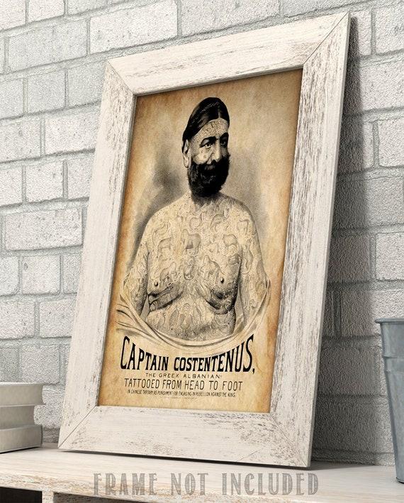11x14 Unframed Art Print Captain Costentenus the Tattooed Man Art Print