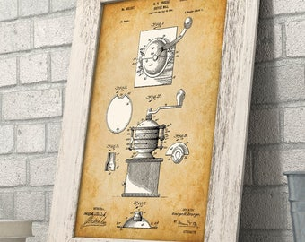 Coffee Mill - 11x14 Unframed Patent Print - Great Gift for Coffee Lovers