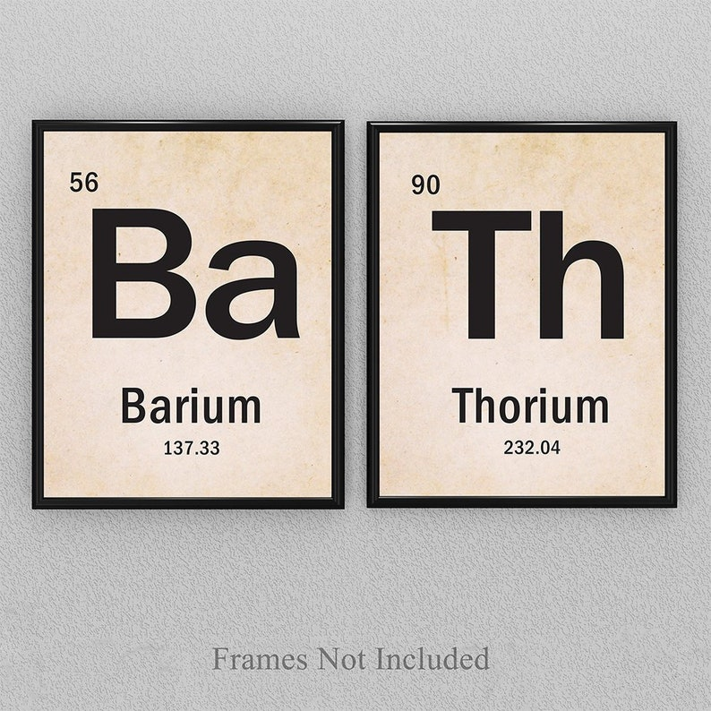 Bath Science Periodic Table Of Elements Set Of 2 11x14 Etsy