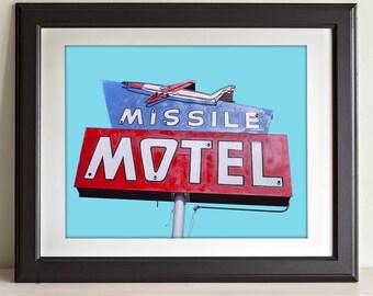Missile Motel Neon Sign - 11x14 Unframed Art Print - Great Retro Decor