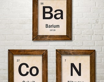 BACON Periodic Table of Elements - Set of 3 11x14 Unframed Art Print - Funny Geek Chemistry Themed Kitchen/Restaurant Decor