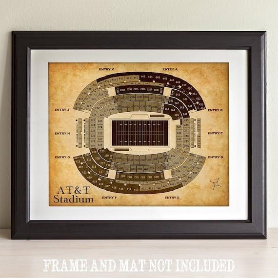 AT and T Stadium Football Seating Chart 11x14 Unframed Art Print Sports Decor