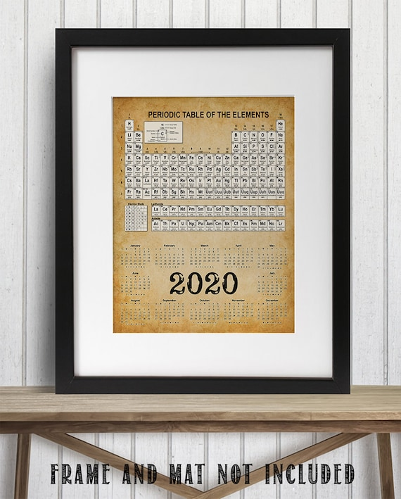 Printable Periodic Table 2020.2020 Calendar Periodic Table Of Elements 11x14 Unframed Calendar Art Print Great Calendar For Science Labs