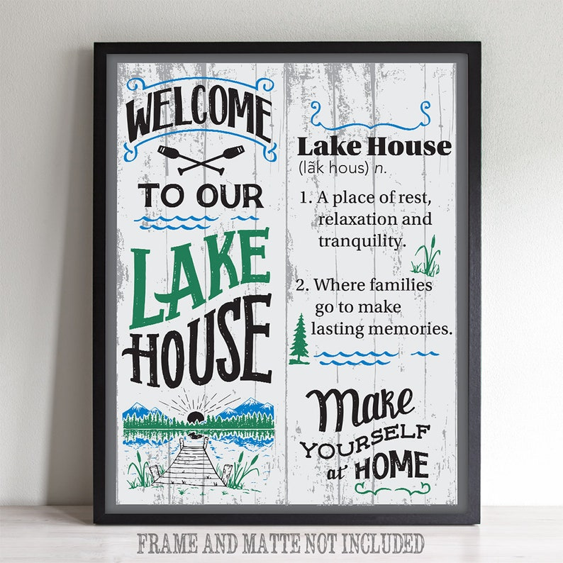 Welcome To Our Lake House Definition - 11x14 Unframed Typography Art Print  - Great Lake House Decor - Instant Download