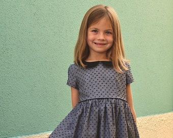 Girls dress pattern, VINTAGE KATE Dress, toddler dress pattern, Peter Pan collar, sewing pattern, instant download PDF, vintage style