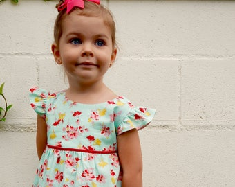 "GIRLS DRESS PATTERN, The ""Mia and Moi"" Pattern, little girl's dress pattern or girl's blouse pattern, sewing pattern, sized to fit ages 3-8"