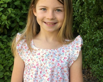 Girls blouse pattern, The KELSIE Pattern , sewing pattern, toddler blouse pattern,  fits ages 2-8, instant download digital PDF pattern