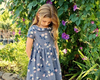 Girls Dress pattern, VINTAGE KATE dress, toddler pattern, sewing pattern, instant download PDF, vintage inspired, Peter Pan collar