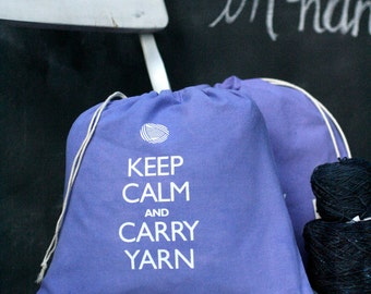 Small knitting project bag - Keep Calm and Carry Yarn - lavender