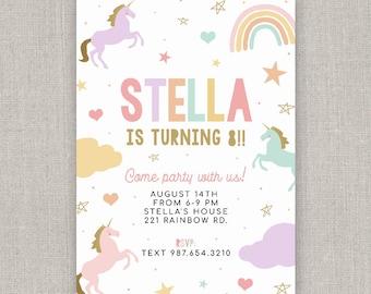 Editable Pastel Unicorn Birthday Invitation Template: Instant Download