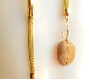 Necklace; woven metal with 2 Dead Sea stones, natural pebble jewellery, raw stone